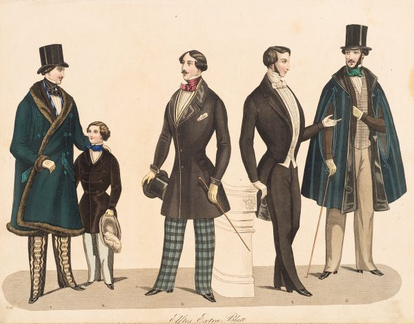 Fashion Print, five standing figures. On the left, man in blue coat, second from left is chld in black coat and pale blue pants. Third from left (center figure) wearing blue striped pants and holding a black hat and cane. The figure second from the right is wearing black pants and black coat, no hat. The figure on the right is wearing a black hat, a blue over coat and gray pants.