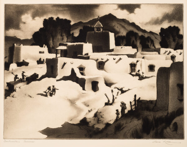 1945 Prairie Print Makers gift print A adobe villiage with mountains in the background.