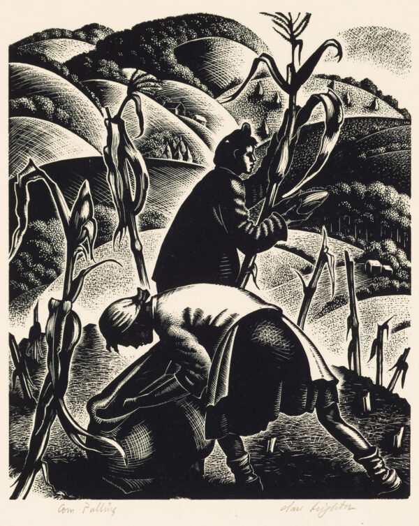 1952 Prairie Print Makers gift print. Two women are pulling corn plants from a field.