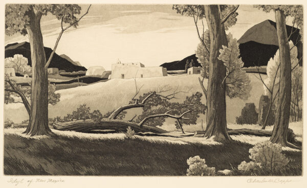 1965 Prairie Print Maker gift print. Tree trunks in the foreground with adobe buildings and mountains in the background.