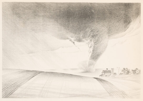 Black and white drawing of a tornado moving along a grassy field near a farm
