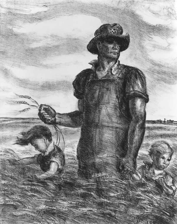 Farmer in overalls standing hip-deep in a wheat field, with two children.