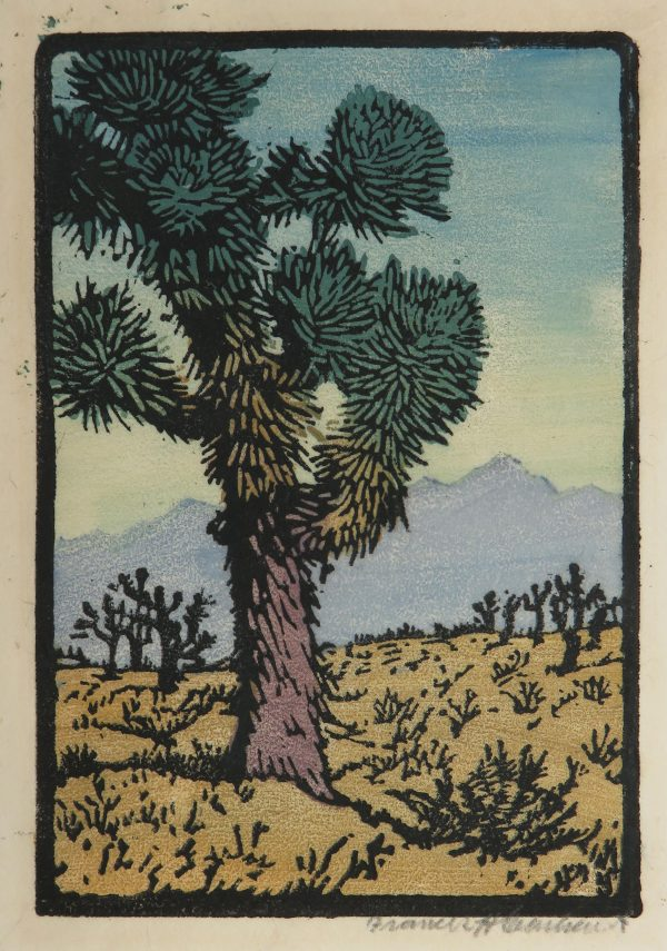 A Joshua Tree cactus fills the composition with purple mountains in the distance.