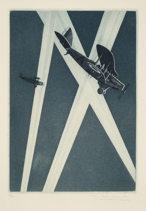 WWI, Two airplanes fly against search light beams.