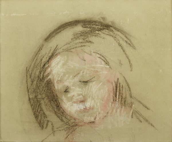 A head of a small child, tilted down, with white and pink highlights and brown hair sketched loosely around the head.