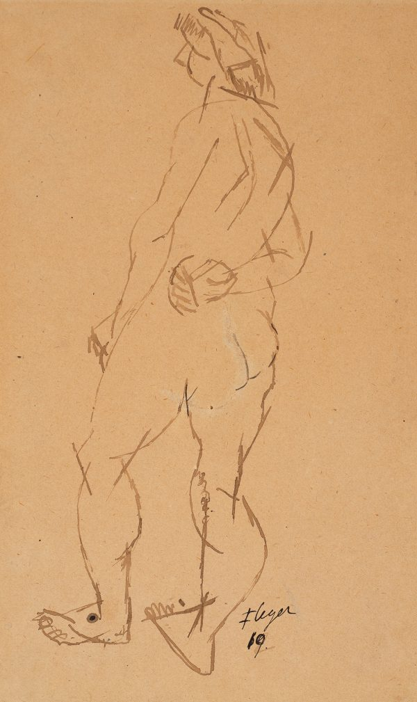 A standing female nude looks to her left.