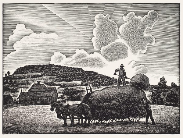 A wagon filled with hay is standing with three horses, one man tosses hay to another man on top of the wagon. A farm house is to the left and clouds and sun rays fill the sky.