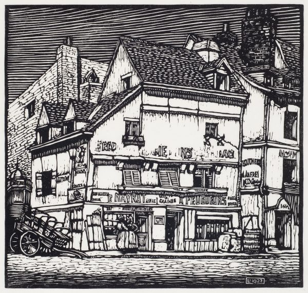A street scene of two women chatting in front of a store. The building has several stories with ads on the front. A wagon is at the left. More buildings are behind and to the right. Scene in Rouen, France. From a drawing by L.C. Rosenberg. Appeared in Journal of the American Institute of Architects, and the June 1929 issue of Golden Book magazine.