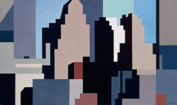 An abstracted cityscape.