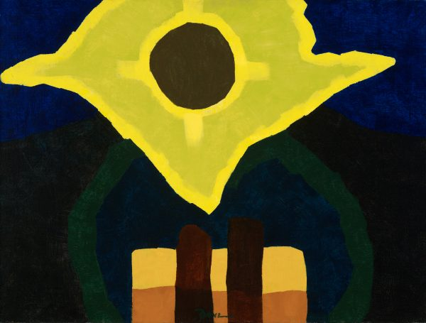 An abstracted sun in yellow and lime green.