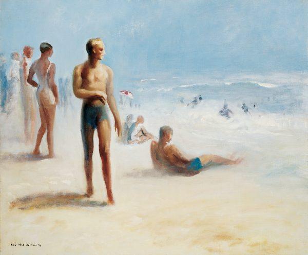 A beach scene painted at Amagasett, Long Island.