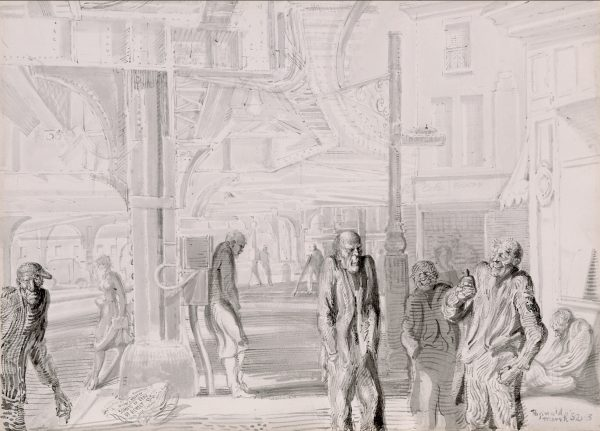 A city scene filled with thin people, loitering. Above the street are great metal supports for an above ground train on the left, buildings are on the right.