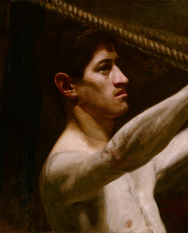Close up of the boxer, Billy Smith holding onto the ring's ropes. This is a study for a large painting.
