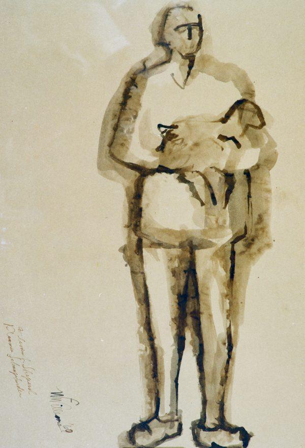 A shepherd stands holding a lamb.