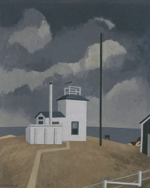 Simplified building of a light house with a tower that includes safety railing and telescope that points out to sea.