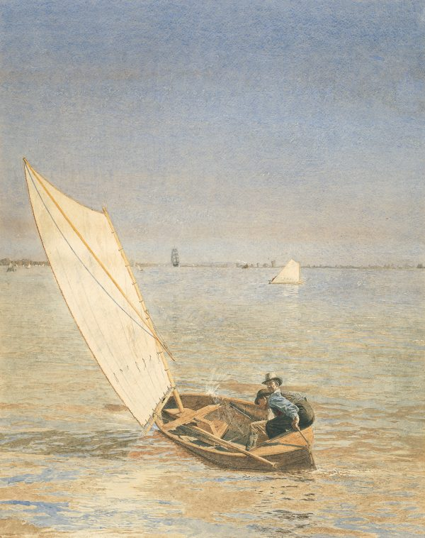 Two men in a sail boat are hunting rail.