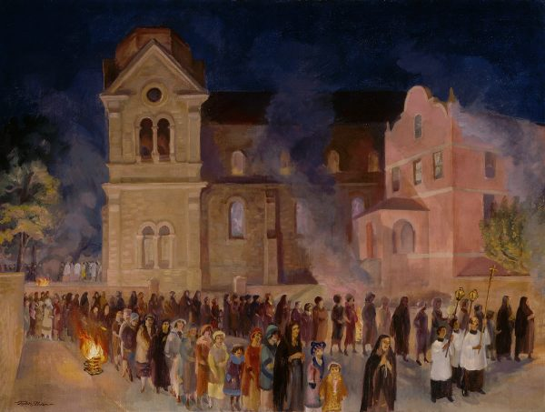 A night-time scene of a crowd in front of a cathedral.