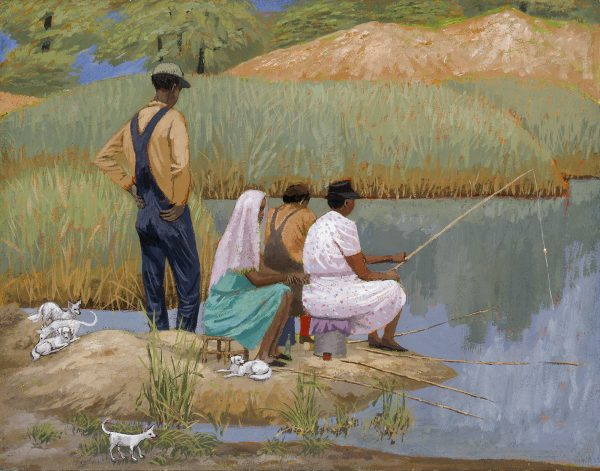 A family fishing in a small pond are accompanied by a group of puppies.