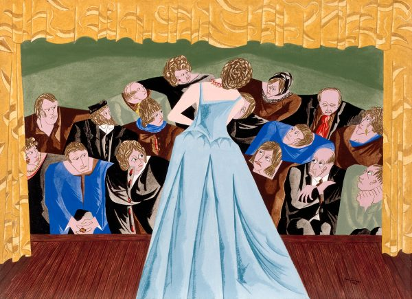 A singer in a blue gown is seen from the back. The audience is attentively listening to the concert. This painting was one of 11 paintings Jacob Lawrence completed while in residence in a psychiatric hospital.