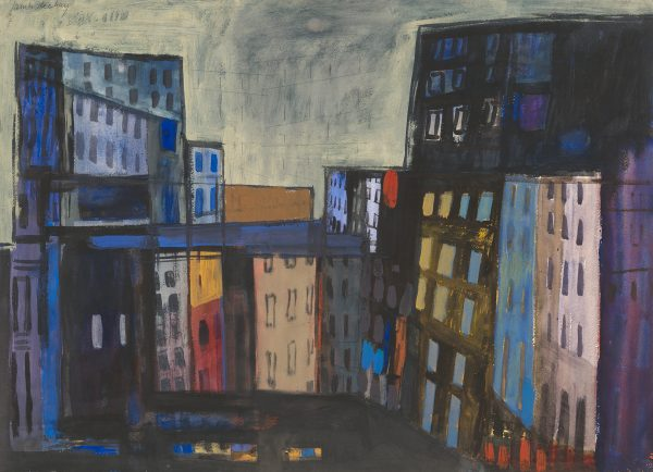 Buildings are painted in jewel tones and black to suggest the coming nightfall.