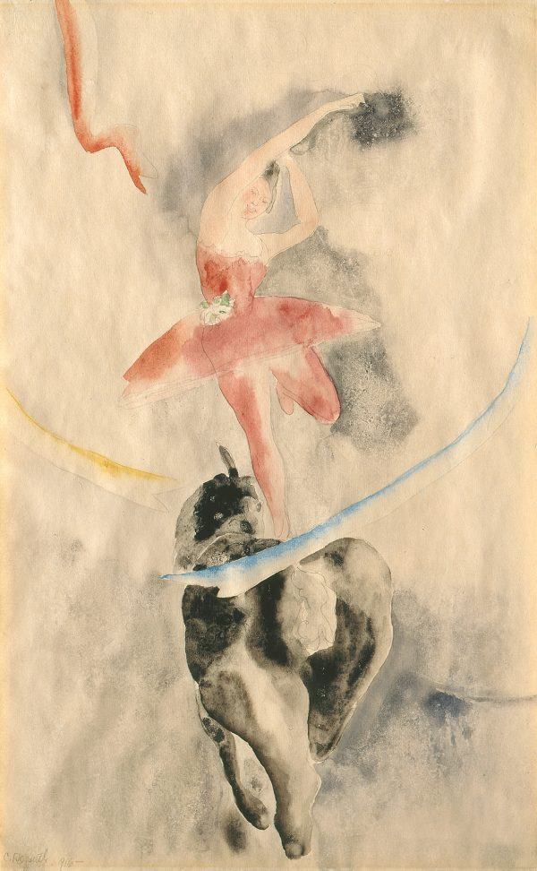 A female circus rider rides a horse by standing on one leg on the horse's back. She is trailing a long ribbon that encirlces both of them