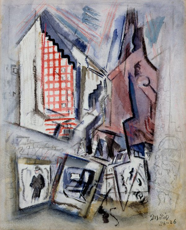 An abstracted view of buildings and street scenes.