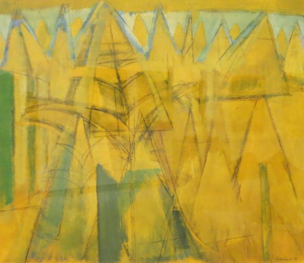 An abstraction in yellow, gold and greens.