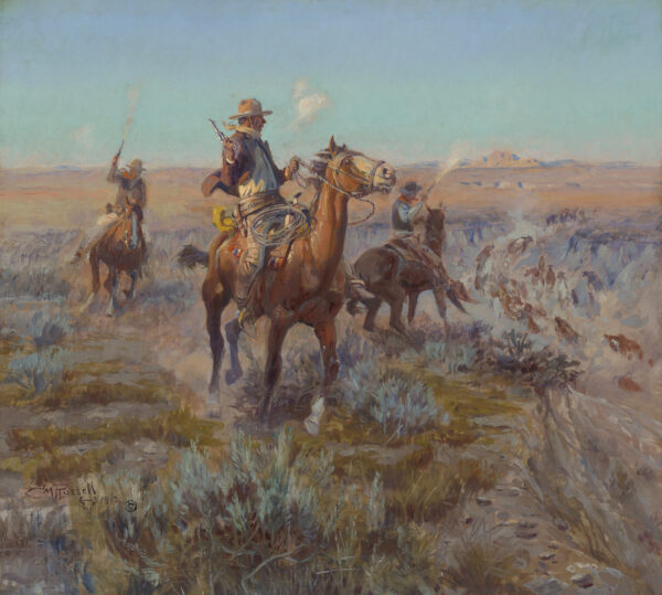 Painting of three men on horseback holding guns and riding through the open plains