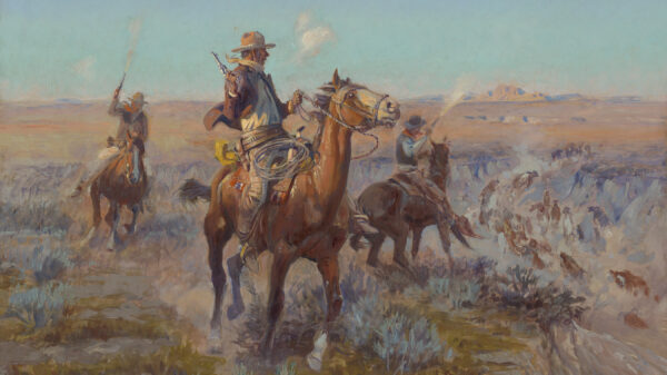 Painting of two men on horseback holding guns and riding through the open plains