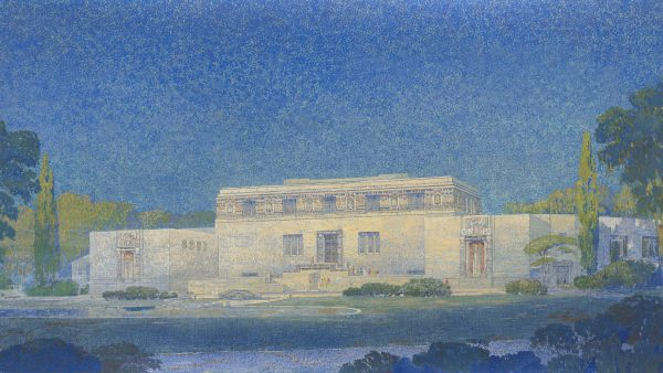 Oil painting image of the Wichita Art Museum building as it was going to be built