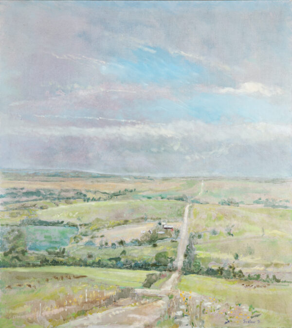 Landscape painting with a road going through the middle of vast fields and a big blue sky with clouds above it