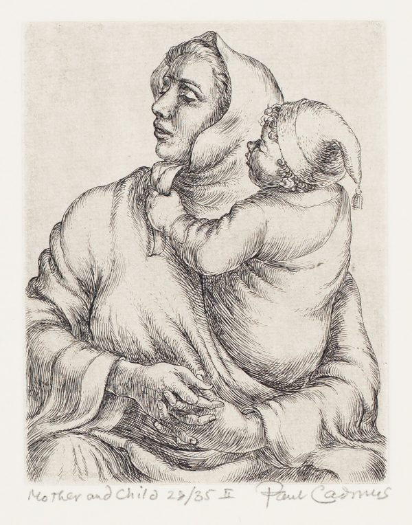 A woman holds a young child in her arms. She is looking to her right. The child wears a had with a small tassel, the woman wears a cloak.