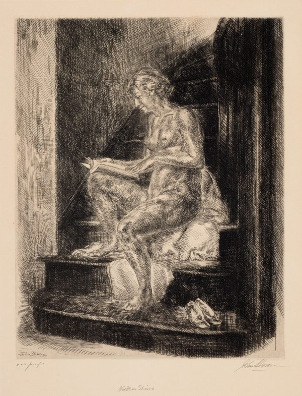 A nude sits on a blanket/her clothes thrown near the bottom of a flight of stairs. She is reading a book and her shoes are on the bottom step to her right.
