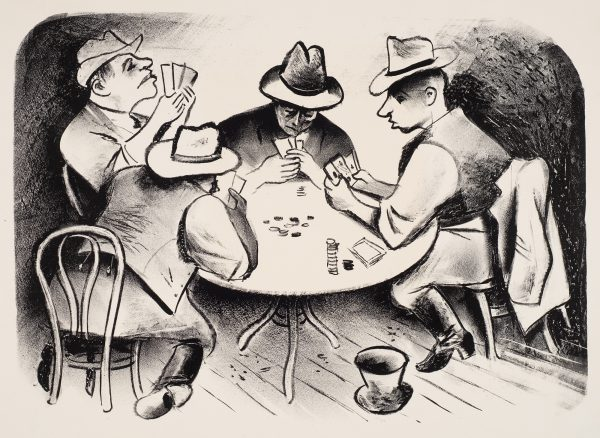 Four men playing poker. They all wear hats and are studying their cards. The two men in front wear vests and boots.