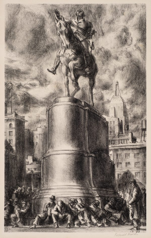 A sculpture of a man on a horse is seen from below. The tall pedestal has many men seated directly on the street below. They appear dejected with their heads bowed.