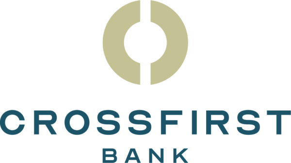 CrossFirst Bank logo with the words in blue and a circle graphic above the bank's name