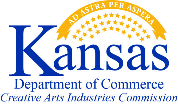 Blue words spelling out Kansas Creative Arts Industries Commission