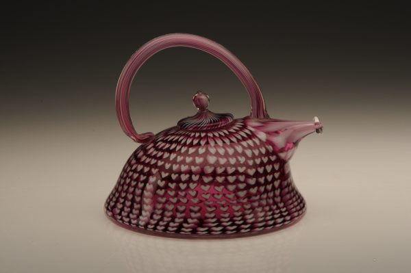 Colorful fused glass teapot by artist Richard Marquis