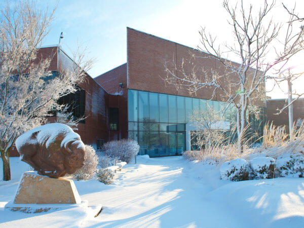 Exterior of the museum's entrance with snow on the ground
