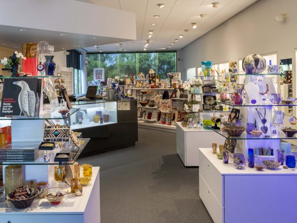 Interior view of the Museum Store showing product displays and items for sale