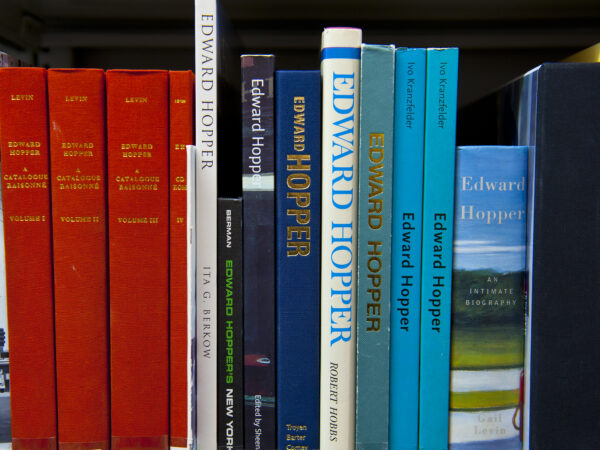 Books of different sizes and colors lined up on a library shelf