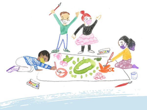 Illustration of a booklet cover with four kids wearing masks and painting