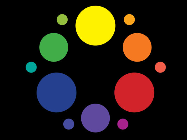 Illustration of 12 circles of different colors together in one large circle