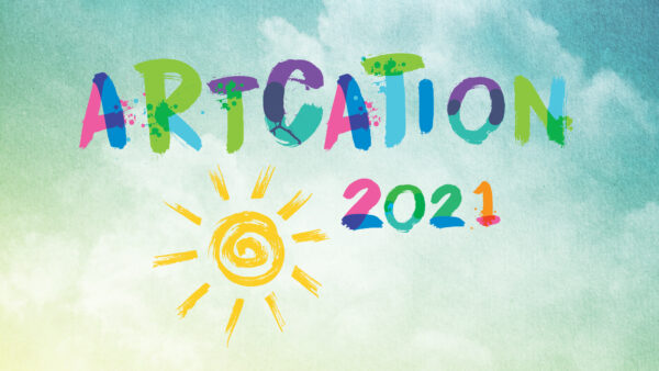 The word Artcation 2021 in a multi-color sans serif font with a yellow line drawing of the sun on a blue and white background suggesting a cloudy sky