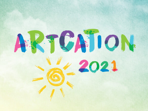The word Artcation in a colorful, stylized font with a line drawing of the the sun and date 2021