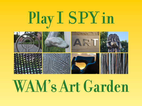 Photos compilation of close-ups of eight sculptures in the Art Garden with words in green on a yellow background