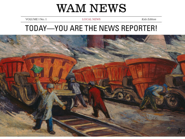 Painting of a man holding a green flag near a railroad with other men looking at and working on the rail cars
