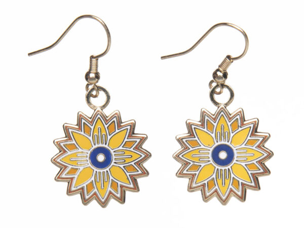 Photo of yellow, gold, and blue sunflower shaped earrings on French hooks