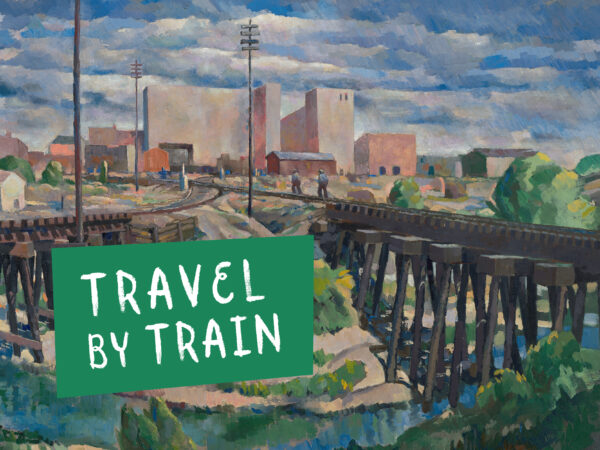 Painting of a landscape with train tracks converging before reaching a city in the background. Green box reading travel by train in lower left corner.
