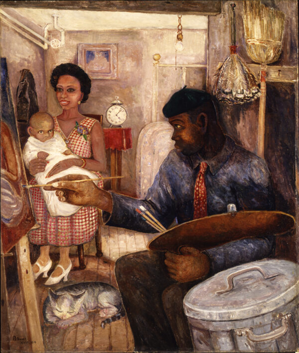 Woman holding a baby on her lap while watching a man paint at an easel